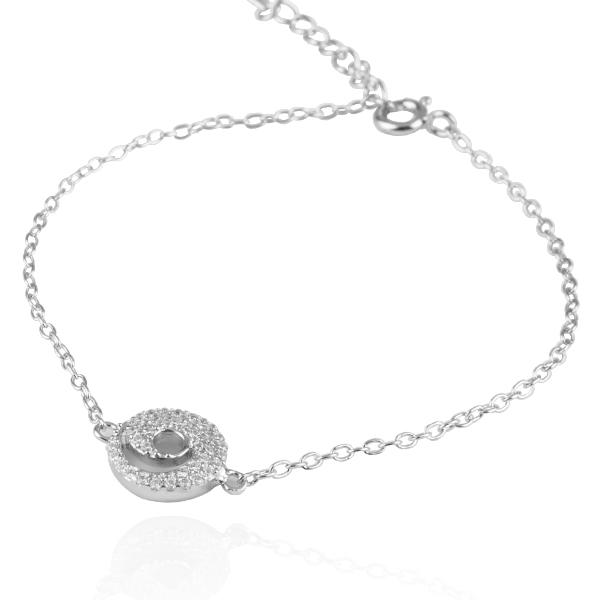 「晶钻弧线」亮丽质感纯银手链|925银饰 纯银手链