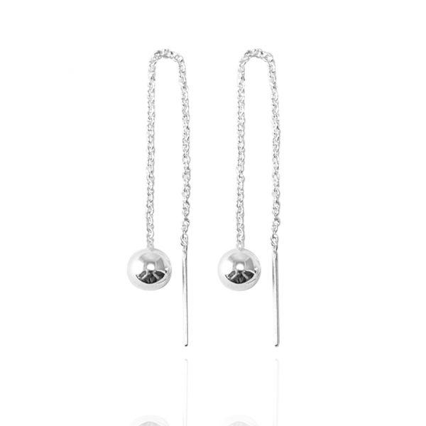 流蘇圓珠(大.6mm)造型純銀耳環推薦|925銀飾 珠珠耳環