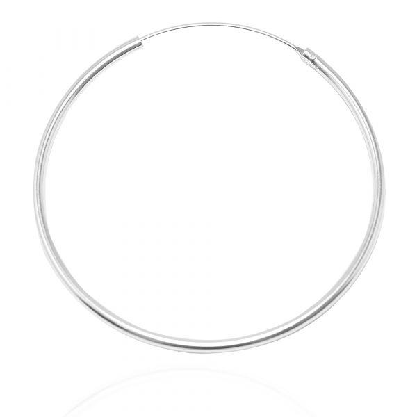 素雅圓形(50mm)耳針純銀耳環推薦|925銀飾 圈圈耳環
