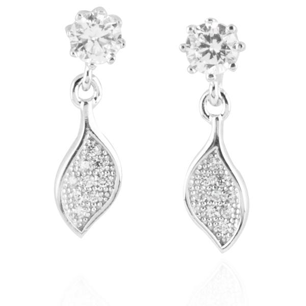 晶鑽小葉(白K金)造型純銀耳環推薦|925銀飾 純銀耳環推薦