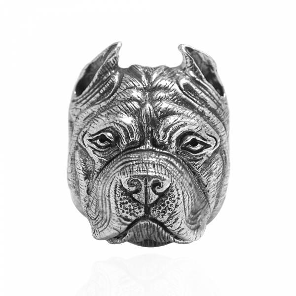 鬥牛犬動物造型雕刻純銀戒指|戒指推薦 法鬥戒指