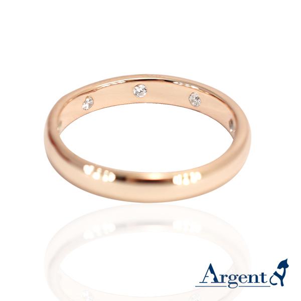 「九鑽(玫瑰金)」藏鑽純銀戒指|戒指推薦(3mm/4mm) 戒指推薦