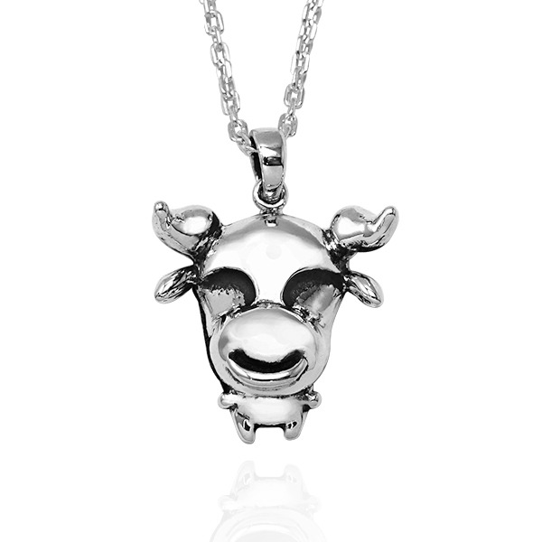 12生肖-牛-造型雕刻純銀項鍊|正面立體後面平面可加購刻字 12生肖銀項鍊推薦