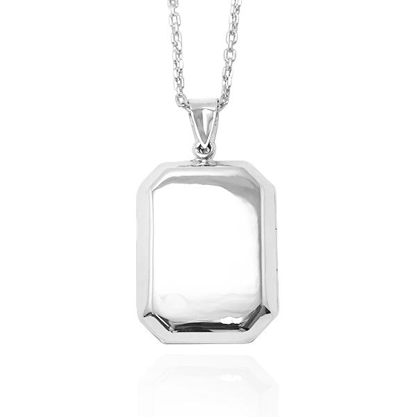 方塊-方型鏡面(大.平)純銀項鍊銀飾(可代印放照.可加購刻字) 相片框項鍊