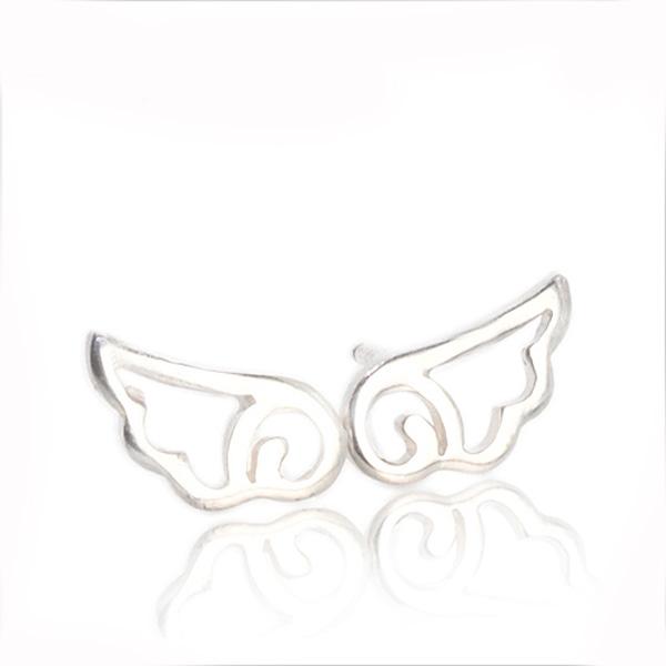 小翅膀簍空造型純銀耳環推薦|925銀飾 純銀耳環推薦