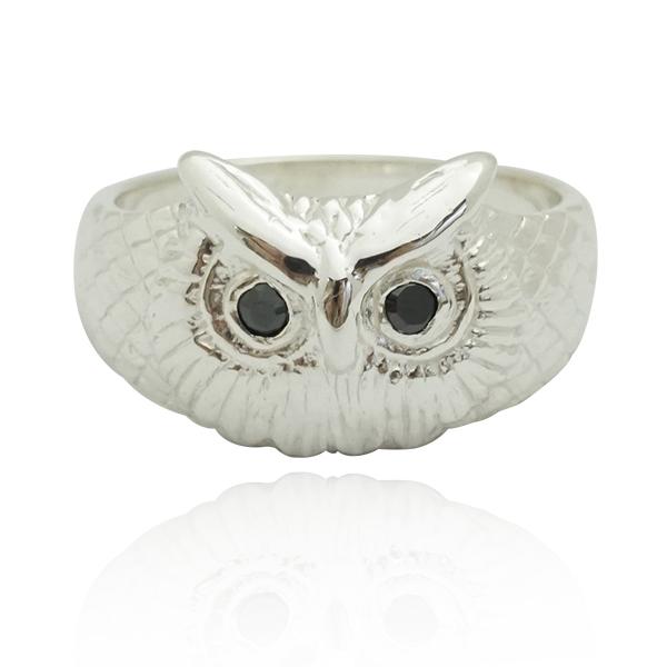 福氣貓頭鷹動物造型雕刻純銀戒指|戒指推薦(黑眼/紅眼) 貓頭鷹