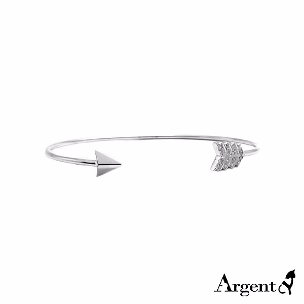 「晶鑽箭羽(白K金)」造型閃亮純銀手環|925銀飾 純銀手環