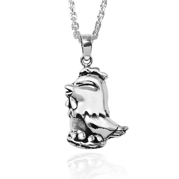 12生肖-雞-造型雕刻純銀項鍊|正面立體後面平面可加購刻字 12生肖銀項鍊推薦