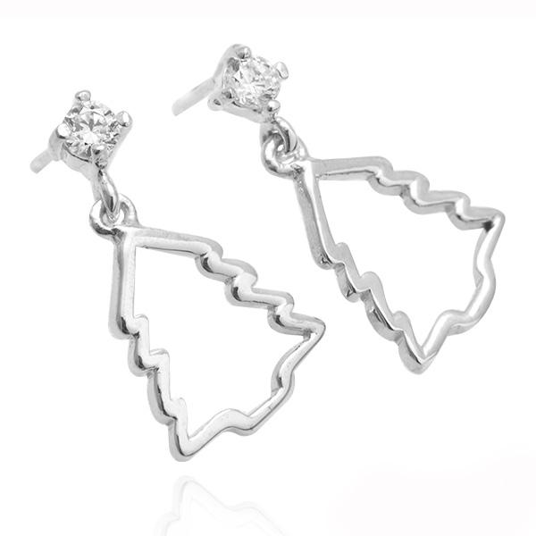 晶鑽聖誕樹造型耳針純銀耳環推薦|925銀飾 純銀耳環推薦