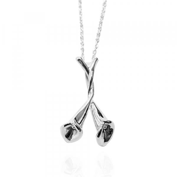 「雙海芋」立體手工雕花系列純銀項鍊銀飾|銀項鍊推薦 海芋
