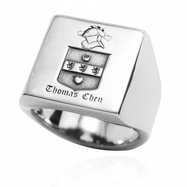 常見訂做-印章戒(方形.寬版)-單面刻圖-純銀戒指|925銀飾戒指推薦 側面可加購刻字 印章冠軍戒指