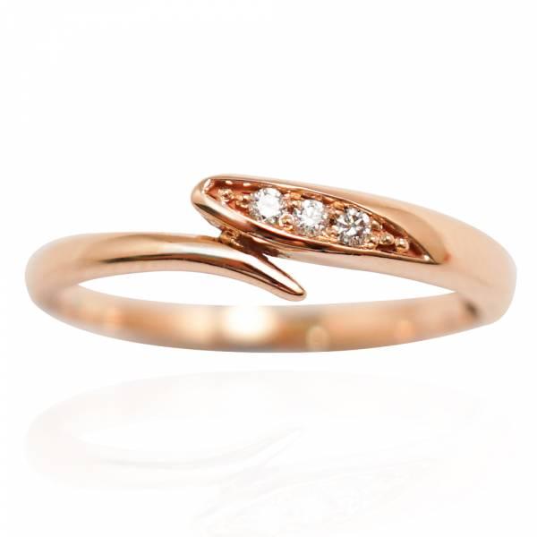 「流情(3分鑽*3顆/女)」 14玫瑰金戒指|K金戒指推薦(單只價) K金尾戒