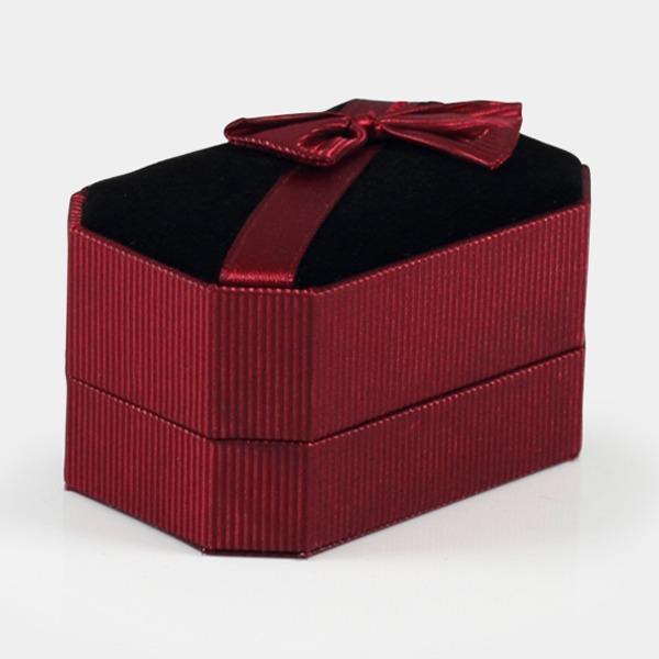 八角緞帶對戒指盒(藍/紅)(黑底)送禮盒-飾品收納盒|收納首飾盒戒指、對戒、耳環、胸針、袖釦適用 飾品收納盒