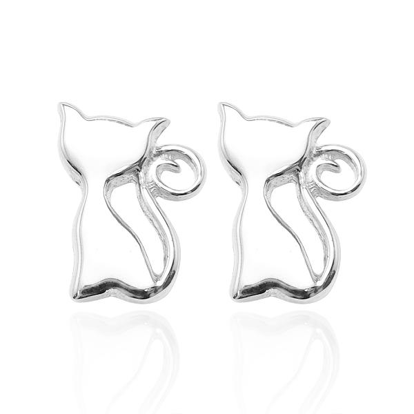Kitten simple sterling silver earrings | 925 silver 純銀耳環推薦