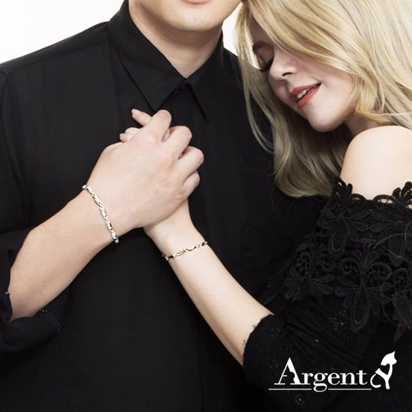 純銀單手鍊-對鍊-情人節手飾|波紋(細3.5mm+粗5mm)純銀對手鍊(一對價) 情人對手鍊