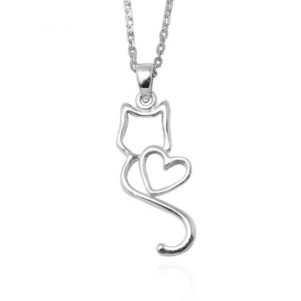 線條貓系列-戀愛-純銀項鍊銀飾|銀項鍊推薦 貓咪項鍊