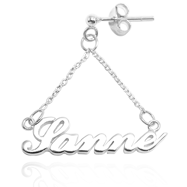 三角垂鍊耳針款英文名字純銀耳環垂吊銀飾|客製化耳環(單只/單邊價/耳針) 客製化耳環