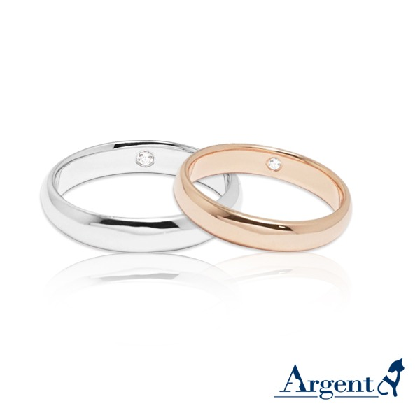 Classic elegant diamond insert silver two-tone sterling silver ring | couple recommended ring K金對戒推薦