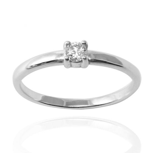 「璀璨(4爪)」鑲鑽造型設計純銀戒指|戒指推薦 鑲鑽戒指