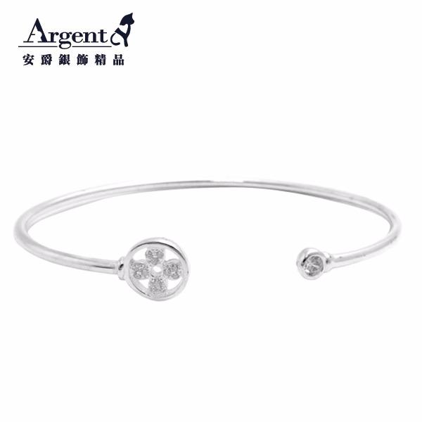 晶鑽花朵造型閃亮純銀手環|925銀飾 純銀手環