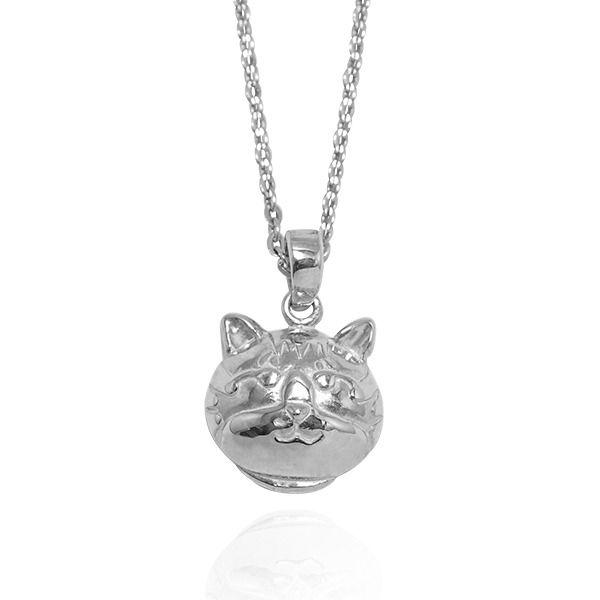 Q版貓-虎斑貓(斑斑)-半立體(染黑/無染黑)造型動物純銀項鍊銀飾|安爵貓系列 貓咪項鍊