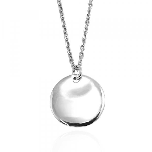 「圓牌凹弧(無刻字)」(2mm銀鍊)簡約純銀項鍊銀飾(可加購刻字) 客製化項鍊