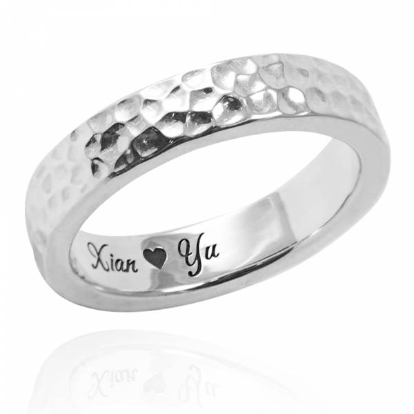 甜蜜烙印+內圍刻字(4/6/8mm)敲打純銀戒指|925銀飾戒指(單只價) 刻字戒指推薦