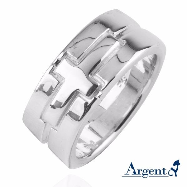 8mm「坚定」十字宽版造型纯银戒指|戒指推荐 戒指推薦