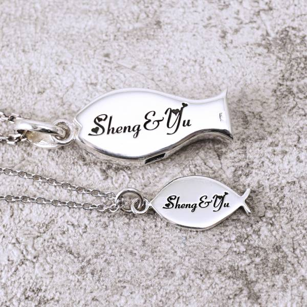 """""""Double silverfish"""" sterling silver lovers necklace  
