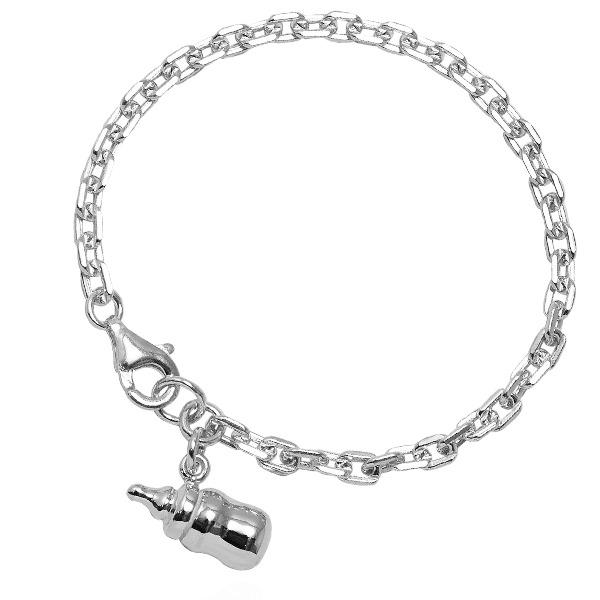 「BABY奶瓶」純銀手鍊|925銀飾可做彌月送禮baby手鍊 嬰兒手鍊