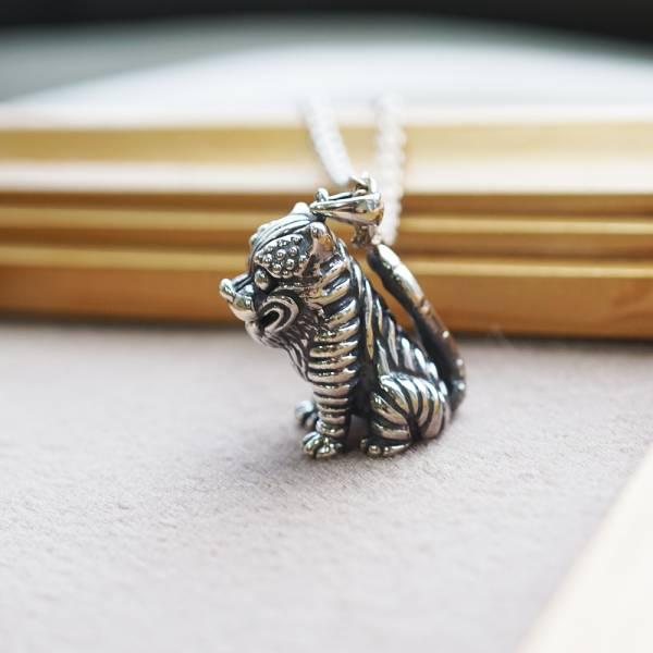 虎爺造型純銀項鍊銀飾|銀飾推薦(單只價) 金虎爺項鍊