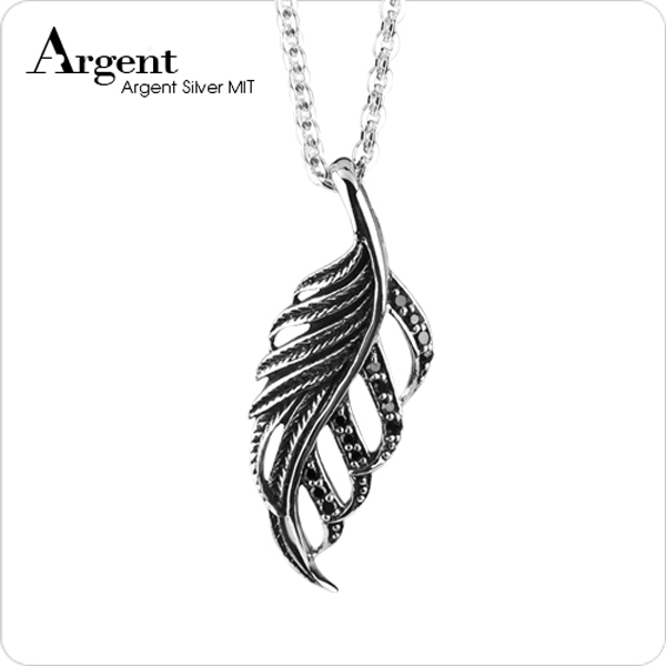 「秋葉」黑鑽造型純銀項鍊銀飾|銀項鍊推薦 銀項鍊推薦