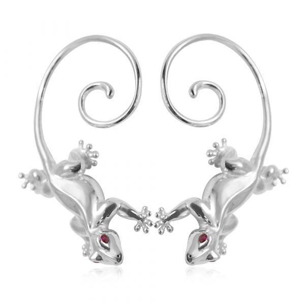 愛心壁虎(一對)-耳掛造型純銀耳環推薦|925銀飾 可做擺飾品 壁虎愛情
