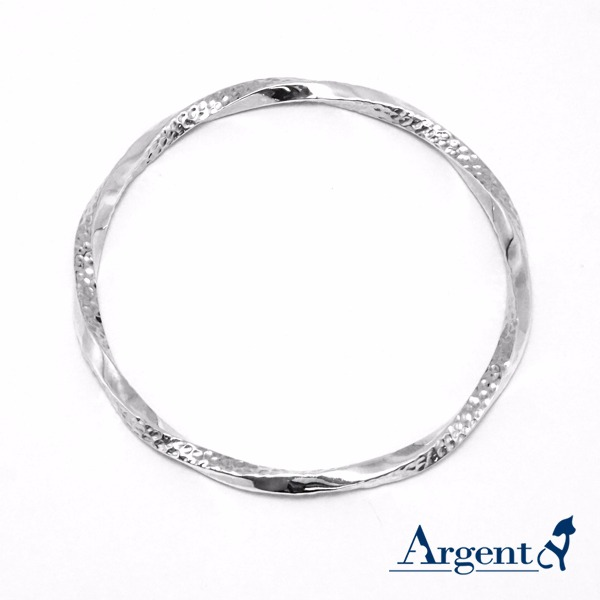 「扭紋烙印(細)」無開口手工製作純銀手環|925銀飾(單只價) 純銀手環
