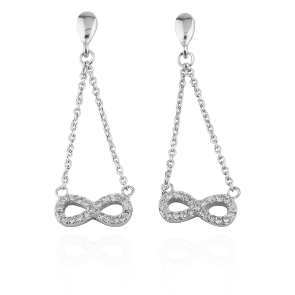 Crystal diamond infinite sterling silver earrings | 925 silverware 純銀耳環推薦