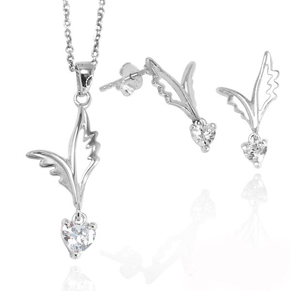 愛心羽翼純銀項鍊+耳針套組|銀飾推薦(項鍊+耳針耳環各一) 銀飾推薦