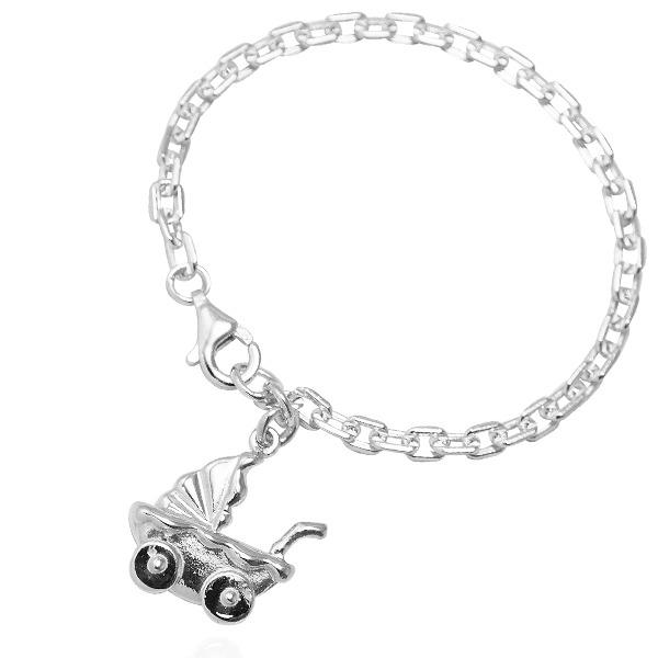 「BABY搖床(推車)」純銀手鍊|925銀飾可做彌月送禮baby手鍊  背面可加購刻字 嬰兒手鍊