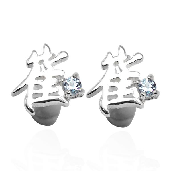 客製化耳環|中文單字圓鑽純銀耳環-耳貼耳針款(一對價)(單邊含圓鑽*1) 中文耳環
