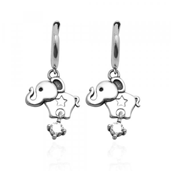 馬戲團(大象)造型-純銀耳環推薦|925銀飾 大象