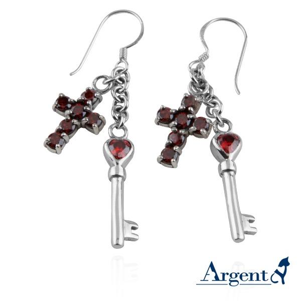 「十字心鑰(套組)(紅/白鑽)」純銀項鍊耳針套組|銀飾推薦 銀飾推薦