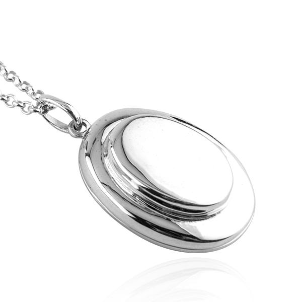 雙層橢圓鏡面純銀項鍊銀飾(可代印放照片.可加購刻字) 照片項鍊