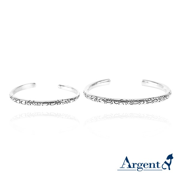 愛戀圖紋純銀情人手環|情人節手飾(一對價) 情人對手環