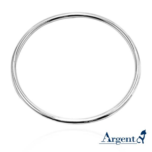 3mm「圆弧形」无开口手工制作纯银手环|925银饰 纯银手环