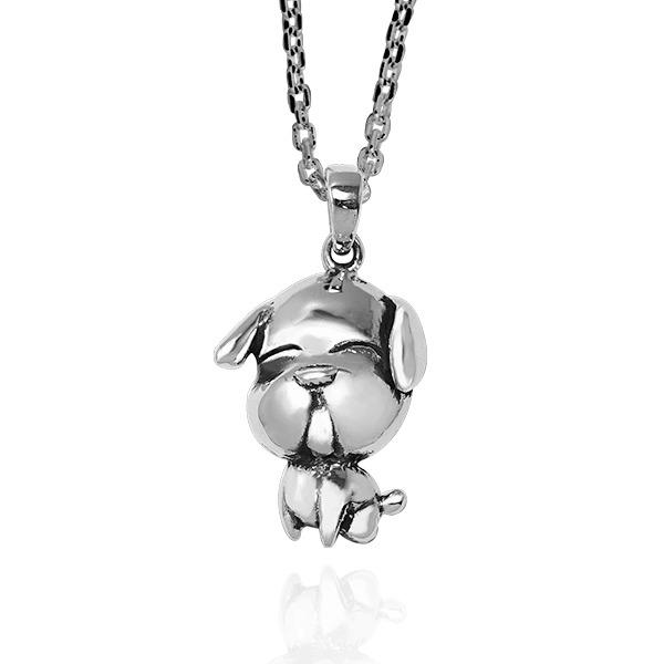12生肖-狗-造型雕刻純銀項鍊|正面立體後面平面可加購刻字 12生肖銀項鍊推薦