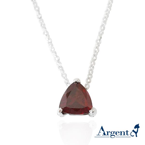 彩寶項鍊|彩晶三角純銀項鍊-天然半寶石手工包台(紅石榴石) 天然石,彩色寶石