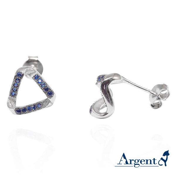 變幻三角(白K金)造型耳針純銀耳環銀飾 銀耳環推薦 銀耳環推薦