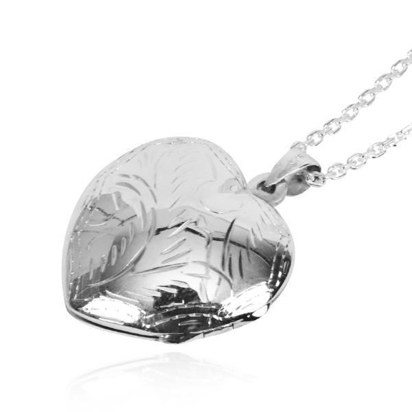 愛心圖紋(迷你.小.凸)(雙面紋路)純銀項鍊銀飾(可代印放照片.可加購刻字)