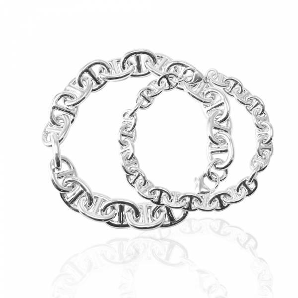 純銀對手鍊-12mm+8mm「軍艦(粗)+(細)」造型純銀對手鍊|925銀飾(粗+細各一條)(一對價) 純銀手鍊