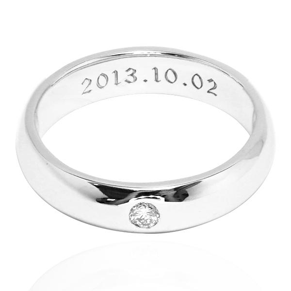 經典(4mm)+刻字-14K白k金真鑽-14K戒指推薦|k金戒指 戒指推薦