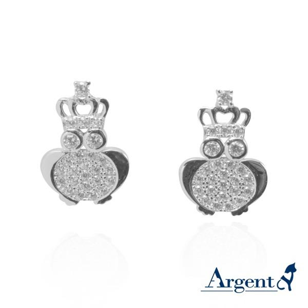皇冠貓頭鷹(白K金)造型純銀耳環推薦|925銀飾 純銀耳環推薦